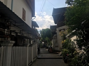 The guesthouse is tucked away on this quiet street